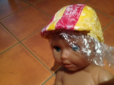 kids craft homemade dolls bike helmet hard hat paper mache