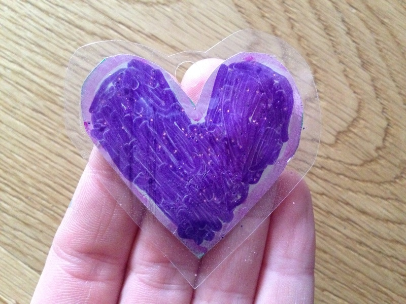Laminated heart necklace, kids craft necklace, laminated necklace