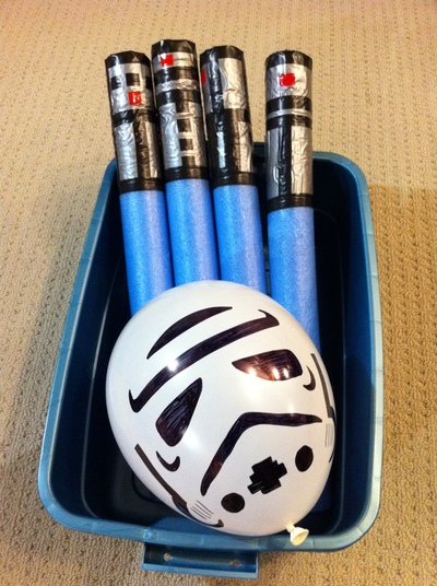 light sabers and balloon