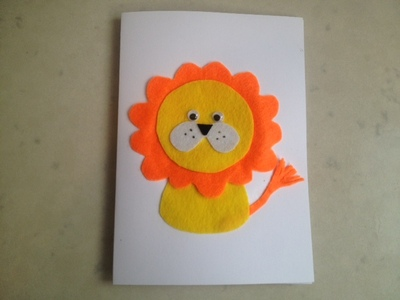 lion birthday card, birthday card jungle, lion jungle, lion, kids cards, animal cards, felt lion card