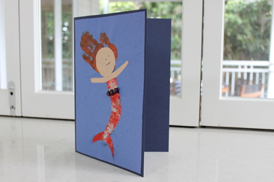 mermaid birthday card greeting card handprint kids craft