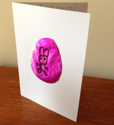 Metallic Easter egg card, easy Easter card kids, kids craft Easter card, Easter egg craft