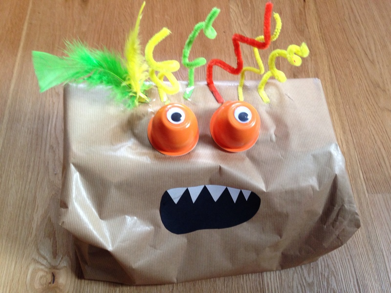 Monster present wrapping, fun wrapping ideas, kids present wrapping, how to wrap a difficult shaped present, monster, kids craft monster   -   Crazy Monster Present Wrapping