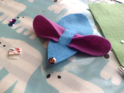 Mouse ears, mouse body, felt