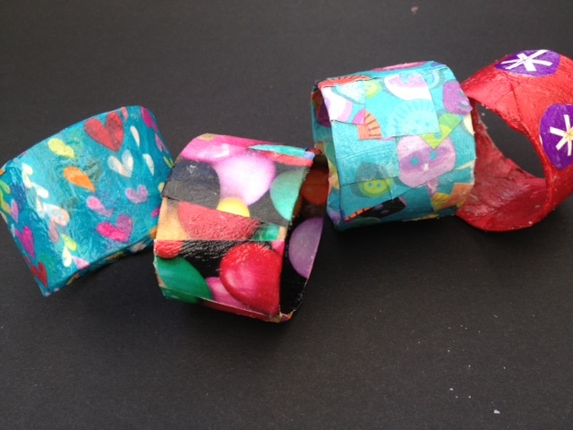 napkin ring, toilet roll, decoupage, craft, kid, children, present, mothers day  - Decoupage Napkin Rings