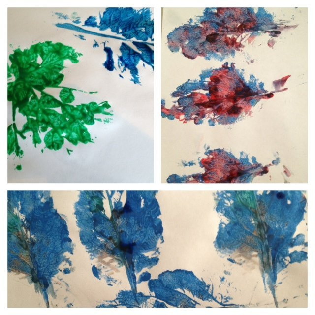 nature, printing, paint, leaf, leaves, feather, kids, preschool, toddler, art