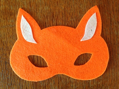 No sew felt fox mask tutorial, fox mask components, fox mask outline, kids mask making