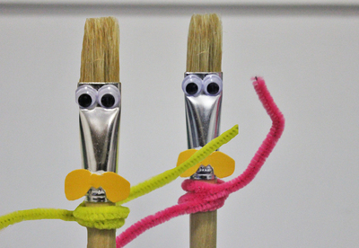 paintbrush, upcycle paintbrushes, recycle paintbrushes, old paintbrushes, paintbrush people, paintbrush puppets, fun craft activities