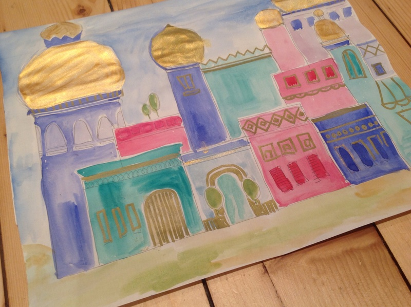 Painting of a village with gold-topped domed buildings  - Golden Domed Village