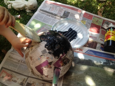 making hole in paper mache bowl