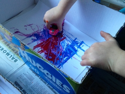 painting with toy car tyres kids craft