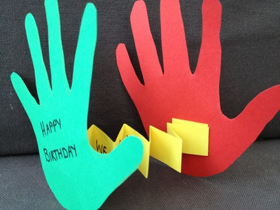 Paper, handprint, preschool, unusual card