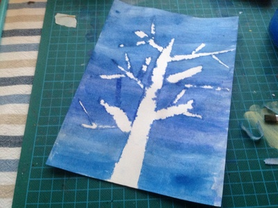 Paper, masking tape, tree shape, blue paint