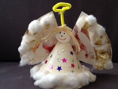 paper plate, angel, preschool, Christmas, fairy, decoration