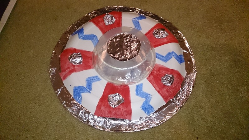 paper plate craft, paper plate, decorated paper plate  - Easy Spaceship