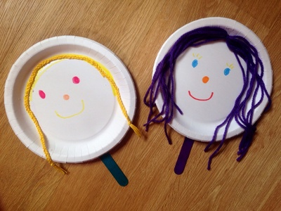 Paper plate puppet, paper plate craft, paper plate Popsicle stick puppet, easy puppet