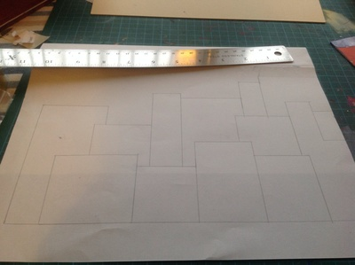 Paper, rectangles, cutting board