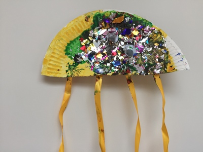 Paper plate, jellyfish, sea crafts, ocean crafts