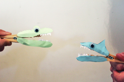 peg shark, peg crocodile, toothy critters, peg animals, kids craft activities