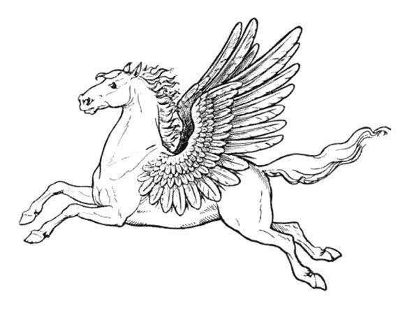 Pegasus colouring page poster free printable pegasus for Coloring pages of pegasus
