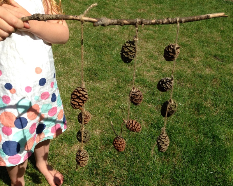 Pine cone craft, kids mobile, outdoor mobile, nature ...