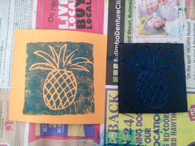polystyrene tray printing, pineapple print, easy printing technique, cheap printing method, kids printing activity