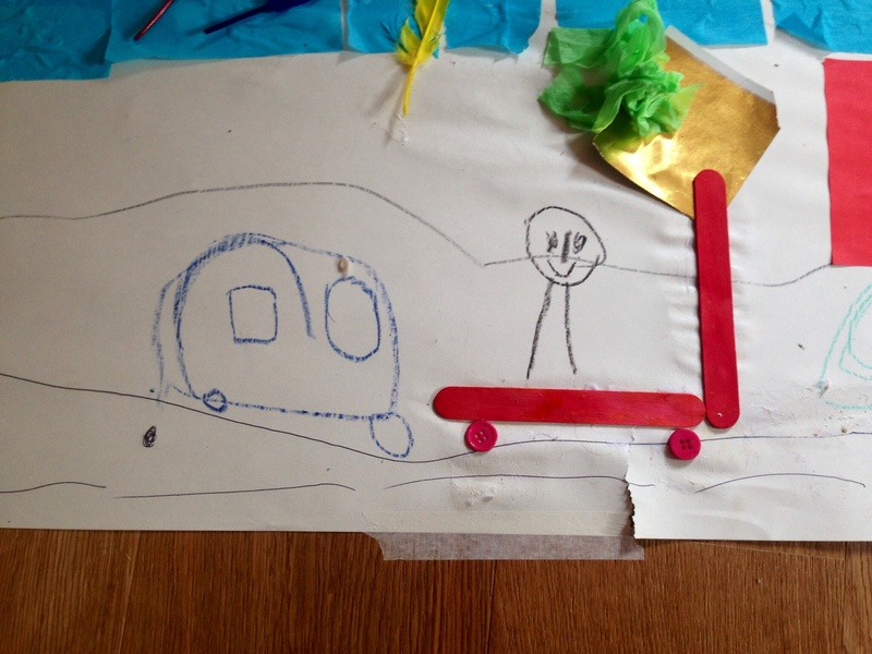 Popsicle stick and button scooter by preschooler  - Giant Collage