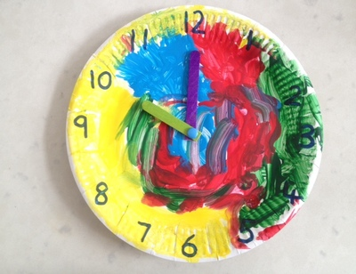 homemade clock, clock craft, kids clock, kids clock craft, learning to tell the time, time craft, kids learning to tell the time, how to make a homemade clock, teaching aids time