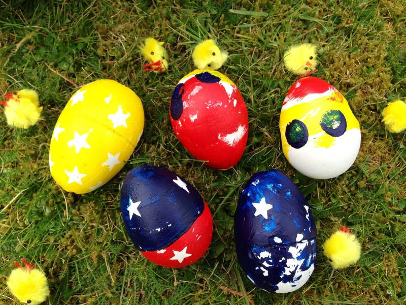 Preschooler Easter eggs, Easter craft, plaster cast eggs, making eggs from plaster