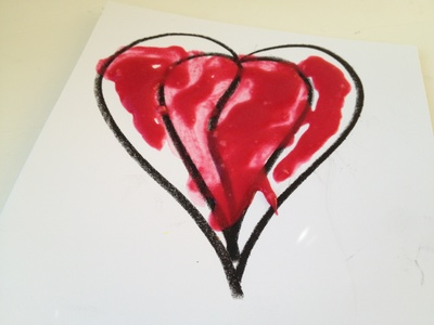 Puffy paint, valentine, heart, preschool