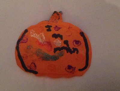 Pumpkin, glitter, glue, orange, hallowe'en