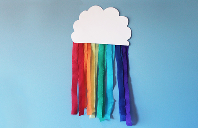 rainbows, rainbow party, streamer rainbow, rainbow craft activities, hanging rainbows, rainbow decorations