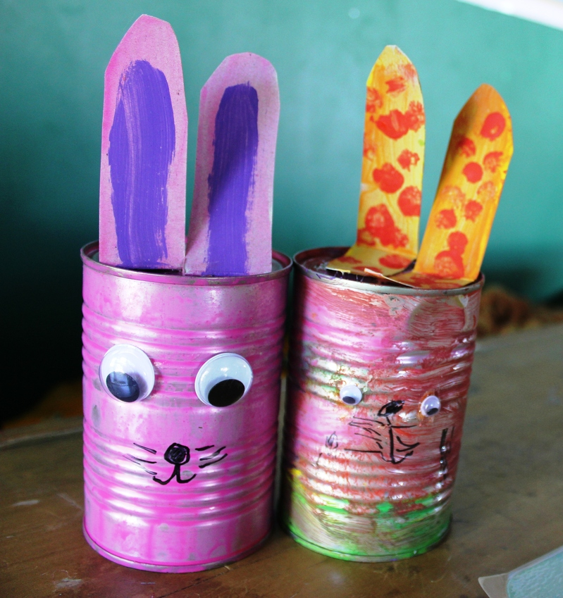 Recycled craft, recycled tins, recycled Easter decoration  - Recycled Bunny Easter Decorations
