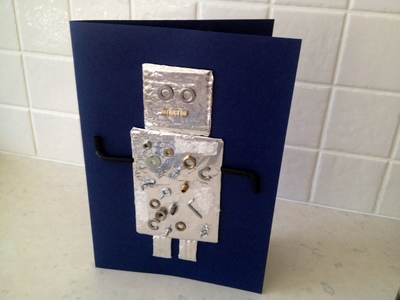 robot birthday card greeting card aluminium foil junk washers