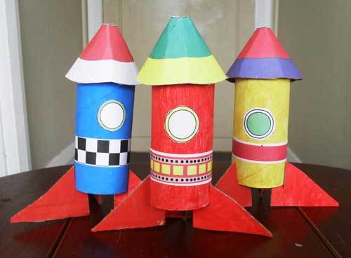 Cardboard Tube Rocket Set