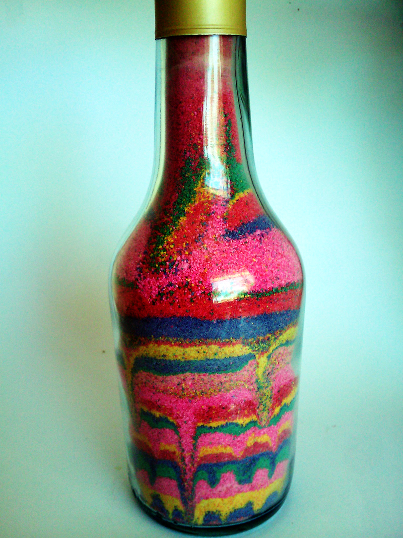 Sand art bottle my kid craft for Glasses made out of bottles