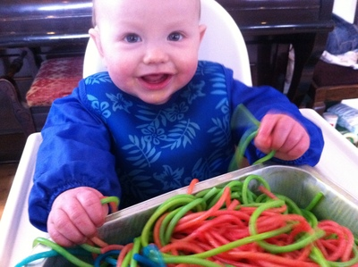 sensory, play, spaghetti, baby, food colouring
