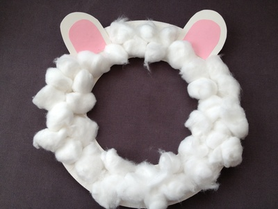 Sheep, mask, cotton wool, preschool, Easter, Christmas