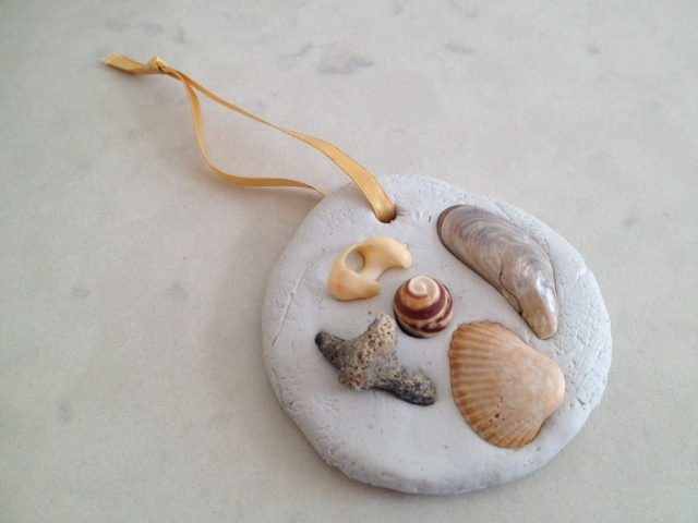 shells clay hanging decoration, easy kids craft  - Shell Encrusted Clay Decorations