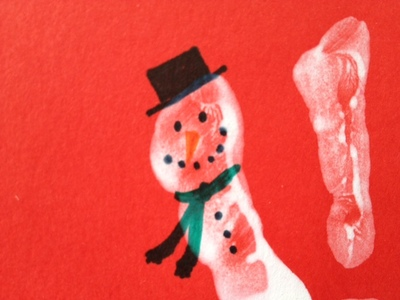 snowman, fingerprint, toddler, Christmas, preschool, card
