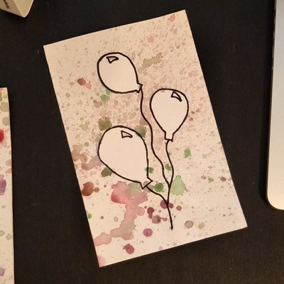 splatter painting birthday card