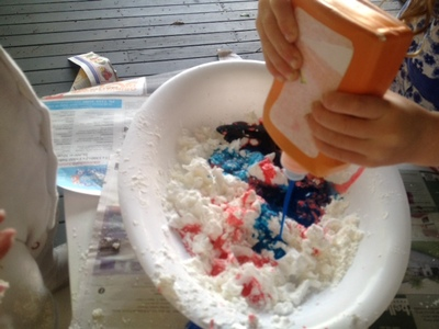 stretchy elastic slime, kids craft messy play idea, shaving foam and cornflour