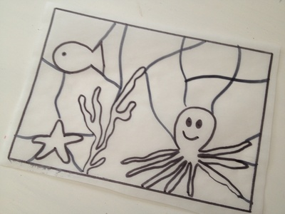 Stain glass, art, kids, underwater