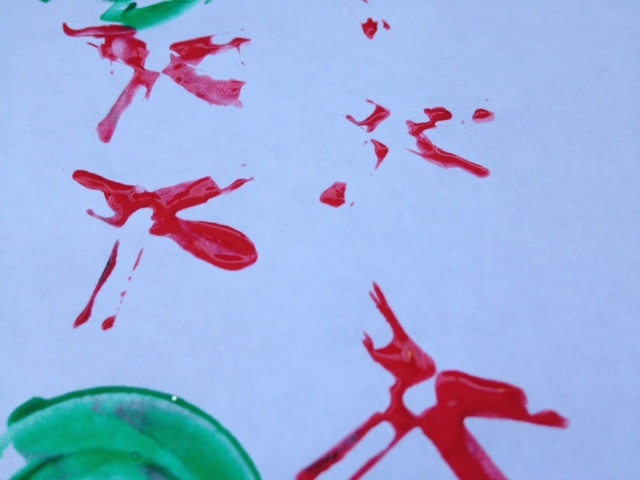 straw, paint, toddler, preschool, stamp, print