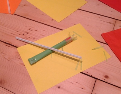 Straw rocket, paper, tissue paper, straw