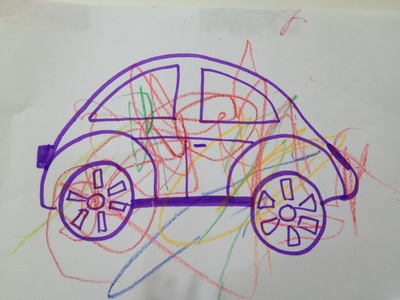 Thank you card, car, people, preschool