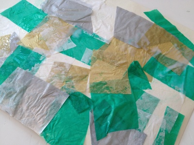 Tissue, collage, Christmas tree, abstract