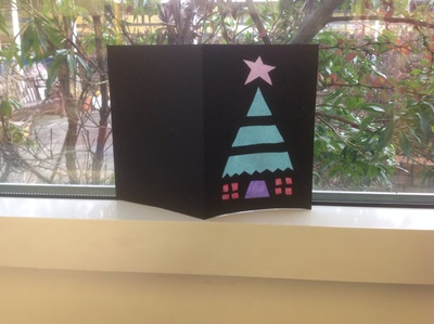 tissue paper, black card, Christmas tree