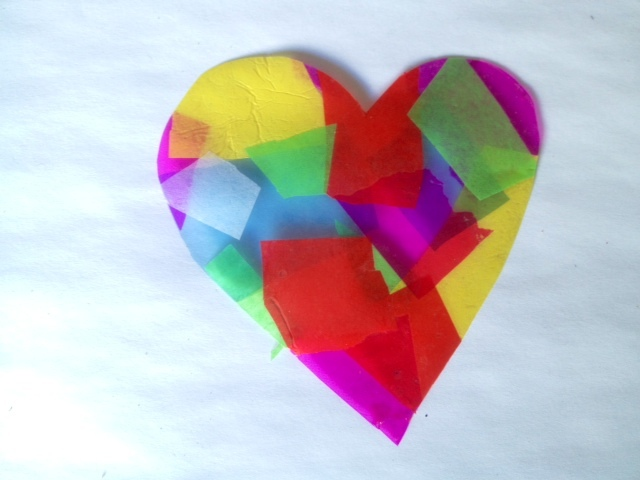 tissue paper and cellophane to make kids craft suncatcher  - Stained Glass Effect Suncatcher