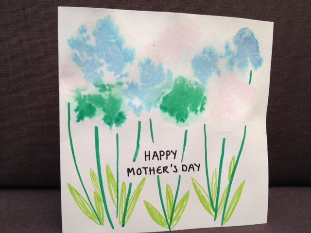 tissue paper, homemade card, mothers day, flower card